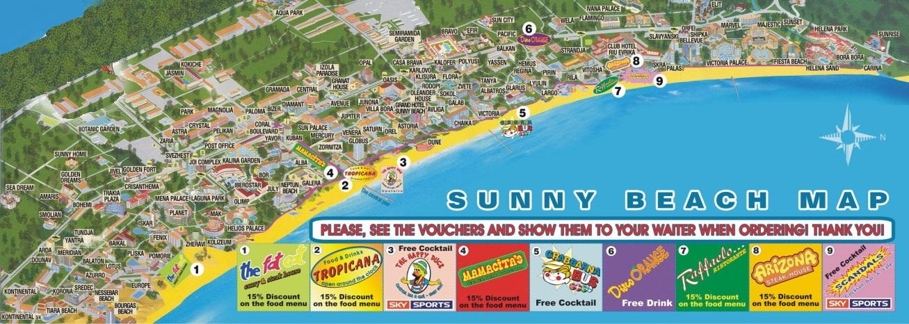 Солнечный берег карта отелей